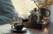 Still Life In Home Interior. Cozy Autumn Or Winter Concept. Cozy Winter Or Autumn Cup Of Coffee At H poster