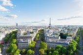 Panoramic View Of Famous Eiffel Tower And Paris Boulevard Streets, Paris France poster