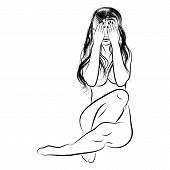 Vector Illustration Of The Naked Beautiful Girl Closing Eyes Hands. Silhouette Of The Pretty Woman.  poster