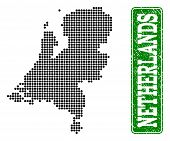 Dotted Map Of Netherlands And Rubber Caption. Vector Green Title Inside Rounded Rectangle And Grunge poster