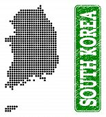 Dotted Map Of South Korea And Rubber Caption. Vector Green Title Inside Rounded Rectangle And Grunge poster