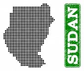Dotted Map Of Sudan And Rubber Caption. Vector Green Title Inside Rounded Rectangle And Retro Rubber poster