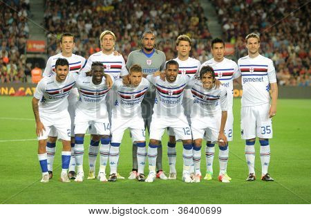 BARCELONA - AUG, 20: UC Sampdoria team posing before Joan Gamper Trophy match between FC Barcelona and UC Sampdoria at Nou Camp Stadium in Barcelona, Spain. August 20, 2012