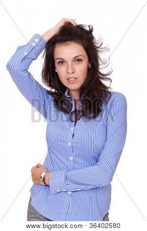 Young successfull attractive businesswoman in blue shirt, isolated on white