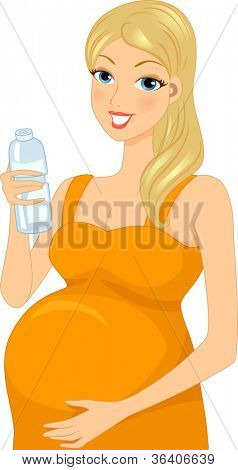 Illustration of a Pregnant Woman Drinking Bottled Water