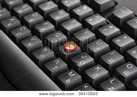 Painful typing, pin on keyboard close-up