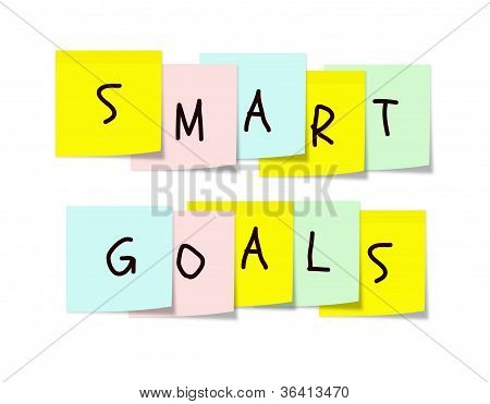 Smart Goals On Colorful Sticky Notes