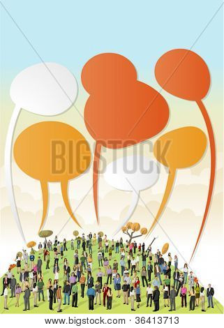 Crowd of business people talking by speech balloons on colorful park