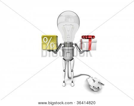 "The robot ""bulb"" Holds in a hands percent sign and gift isolated on a white background"