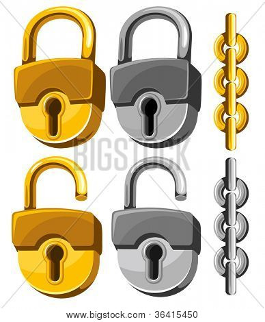 Set of closed and opened padlocks with chain.