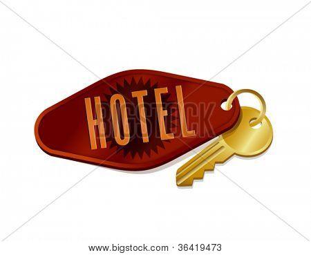 chave do quarto de hotel/motel vintage