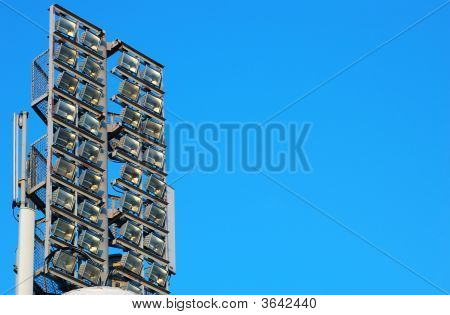 Stadium Floodlight Over Clear Blue Sky