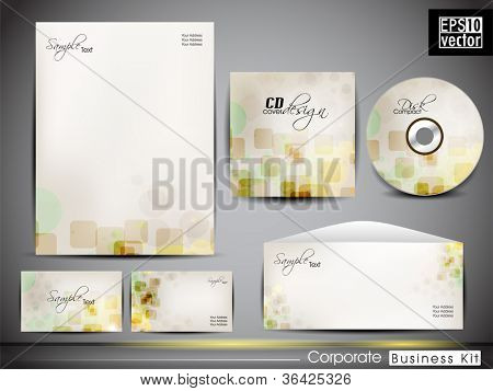 Professional corporate identity kit or business kit with artistic, abstract wave effect for your business includes CD Cover, Business Card, Envelope and Letter Head Designs. EPS 10.