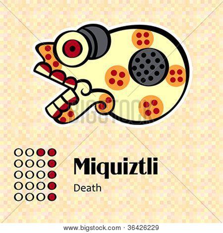 Aztec calendar symbols - Miquiztli or death (6)