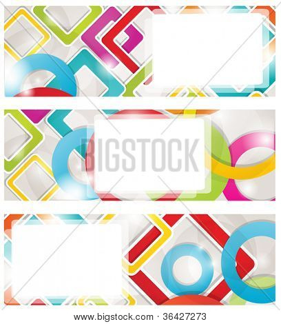 Set of  multicolored banners with circles and squares. Jpeg format for your design