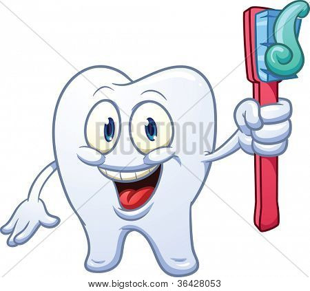 Cartoon tooth holding a toothbrush. Vector illustration with simple gradients. All in a single layer.