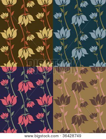 Flower tileable pattern in vectors