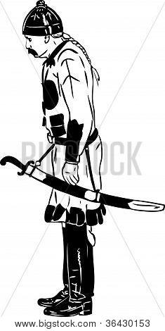 do antigo guerreiro em um capacete e por um sabre