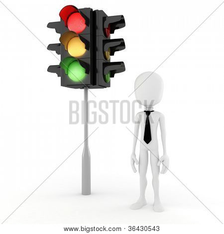 3d man and traffic light