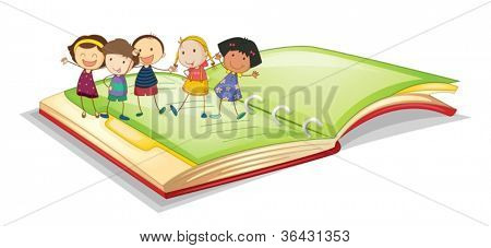 illustration of kids and book on a white background