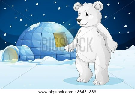 illustrtion of a polar bear and igloo