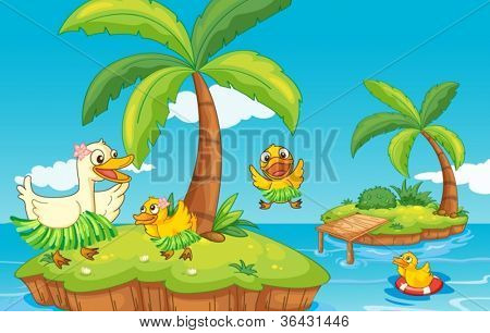 illustration of a duck and ducklings on island