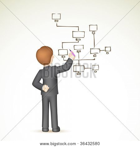 illustration of 3d business man in vector drawing flow chart