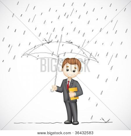 illustration of 3d business man in vector under umbrella in rainy day