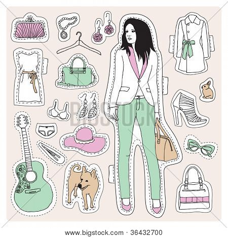 Fashion model posing for clothes and high heels illustration pattern crafty vector set