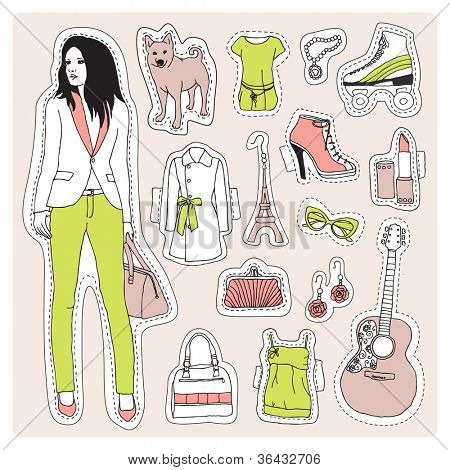 Fashion model office girl with guitar and dog pattern crafty illustration in vector