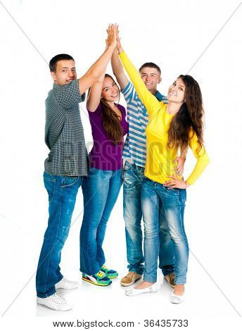 group of young people holding hands isolated on a white background
