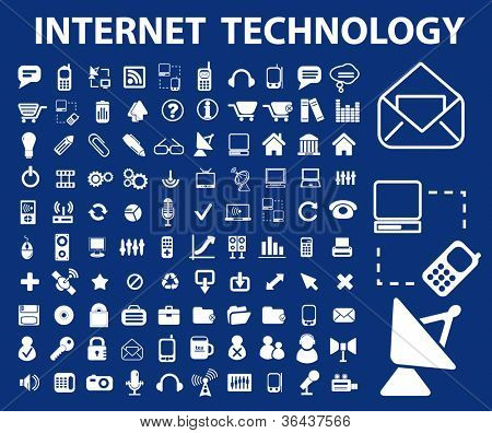 internet technology icons set, vector