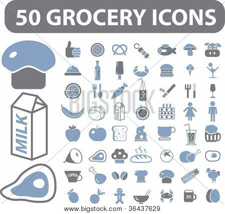50 grocery icons set, vector