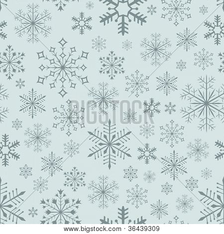 Abstract seamless bluish snowflake vector background.