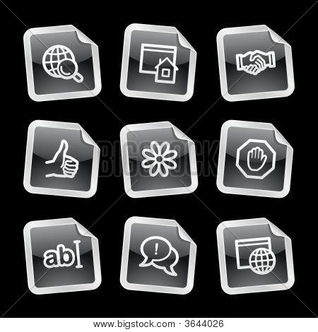 Internet Communication Web Icons, Black Glossy Sticker Series