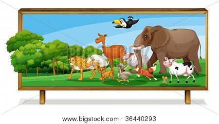 illustration of Animals in jungle on a board