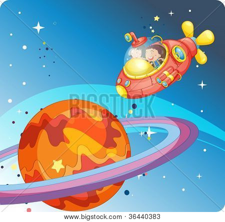 illustration of a kids in spaceship and saturn