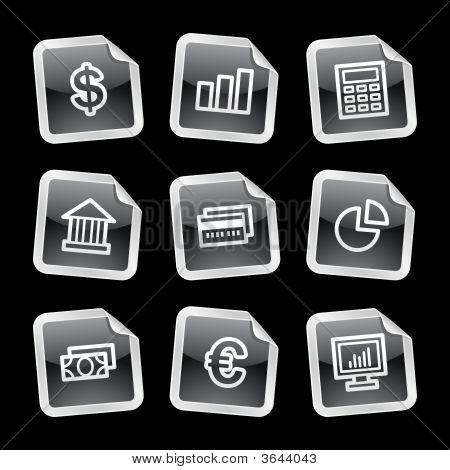 Finance Icons, Black Glossy Sticker Series
