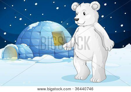 illustrtion of a polar bear and igloo