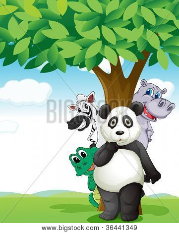 illustration of group of various animals under tree