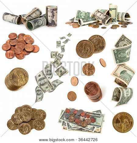 Collection of American money, isolated on white background.  Includes coins and notes.