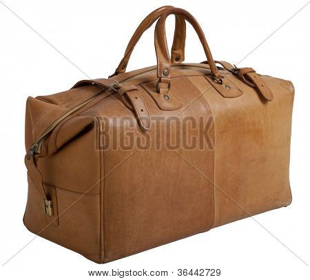 Old leather gripsack isolated on white background with clipping path.