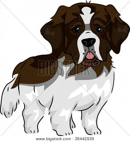 Illustration Featuring a Cute and Playful St. Bernard