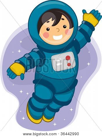 Illustration of a Young Male Astronaut Floating in Outer Space