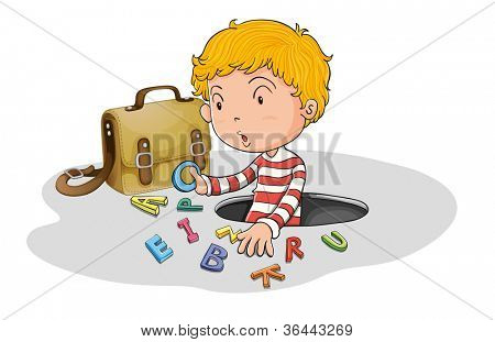 illustration of alphabets and boy on a white background