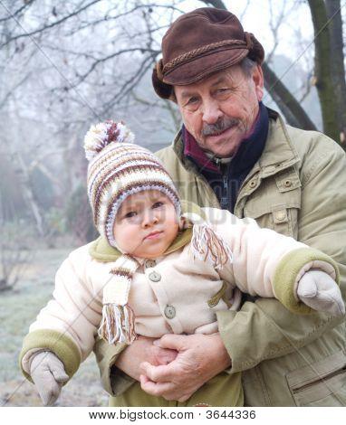 Grandpa And Grandson Outdoor