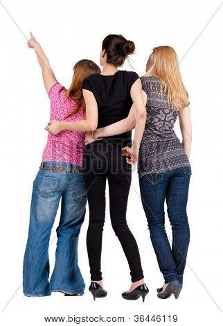 Back view of group young women pointing . Girl looks into the distance.  Rear view people collection. backside view of person. Isolated over white background.