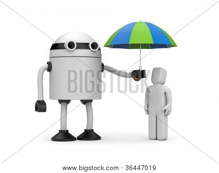 Robot holding an umbrella over 3d people