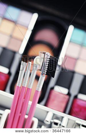 various make-up brushes - beauty treatment /shallow DOFF/