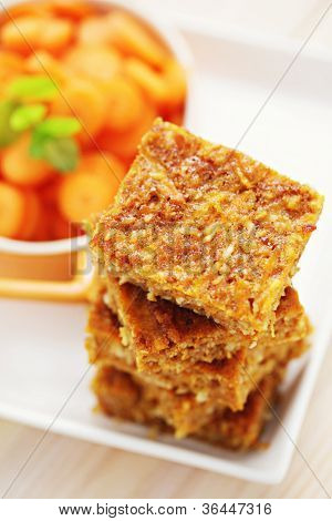 homemade carrot cake with coconut - sweet food /shallow DOFF/